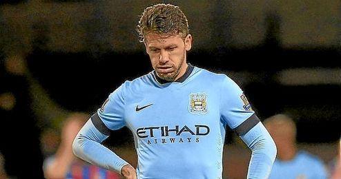 Demichelis, durante un partido con el Manchester City.