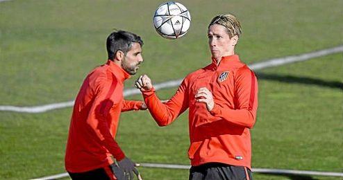 Torres, durante una sesión de entrenamiento del Atlético.