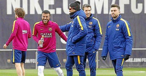 Rafinha y Luis Enrique, sonrientes en un entrenamiento.