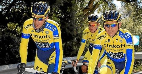 Contador, durante un entrenamiento con el Tinkoff.