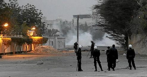 Imagen de efectivos de la policía en Manama, Baréin.