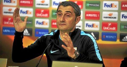Valverde, en la sala de prensa del Sánchez Pizjuán.