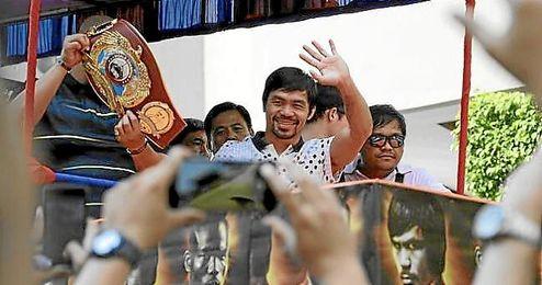 Pacquiao celebrando su victoria