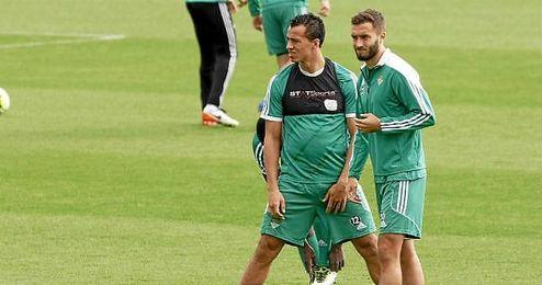 Damiao y Pezzella, en el entrenamiento de este jueves.