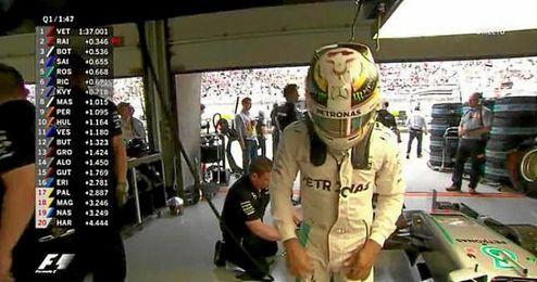 Hamilton saldrá en la última línea de la parrilla de salida.