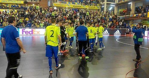 El Movistar Inter celebra el pase a la final de la UEFA futsal Cup
