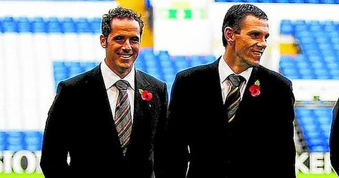 Poyet, junto a Marcos �lvarez, en el Tottenham.