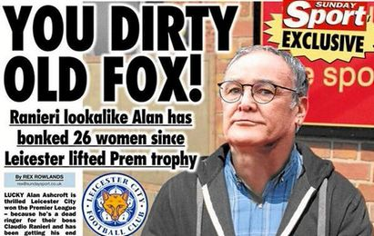 Portada del ´Sunday Sport´ en el que entrevistan al doble de Ranieri.