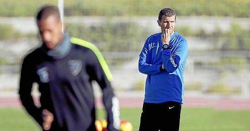 Javi Gracia, en un entrenamiento del Málaga.