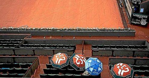Suspendida la jornada de Roland Garros a causa de la lluvia.