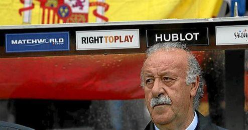 Del Bosque, en uno de los partidos preparatorios ante de la Euro.