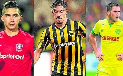 De izquierda a derecha: Gutiérrez (Twente); Simoes (AEK); y Veretout (Aston Villa).
