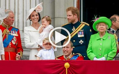 La familia real brit�nica durante el �Trooping the Colour�.