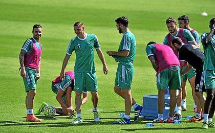 Imagen de un entrenamiento del Betis la pasada temporada.