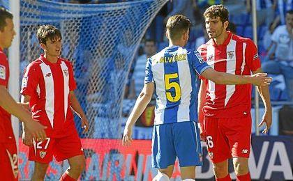 Fazio, en el partido ante el Espanyol en Cornellà-El Prat.
