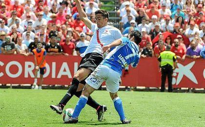 Martínez, en el duelo de ayer ante el Lleida.
