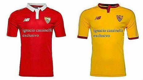 La segunda equipación del Sevilla será roja, la tercera, amarilla.