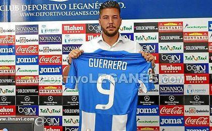 Guerrero, durante su presentació con el Leganés.