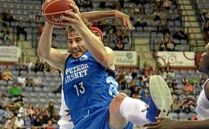 David doblas, durante un partido con el Gipuzkoa basket.