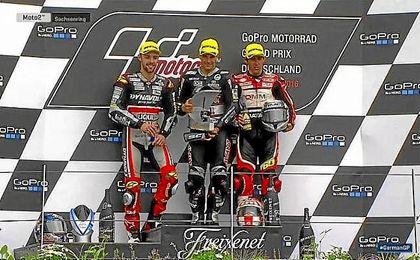 Folger, Zarco y Simón, en el podio de Moto2.