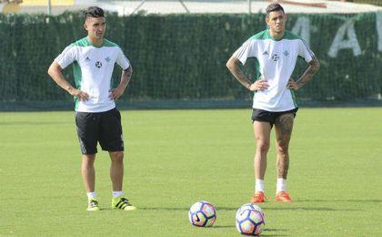 Felipe Gutiérrez y Tonny Sanabria ejercitándose esta mañana.