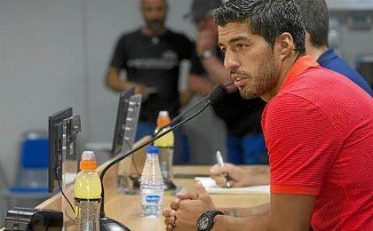 El punta uruguayo, en la rueda de prensa.