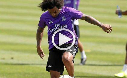 Marcelo se divierte durante un entrenamiento de pretemporada.