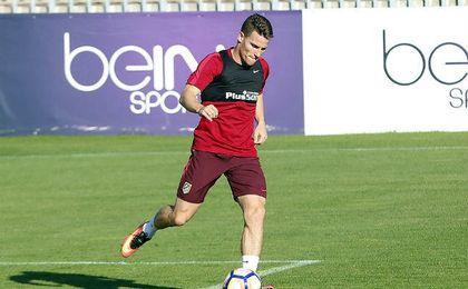 Kevin Gameiro en un entrenamiento con el Atlético de Madrid