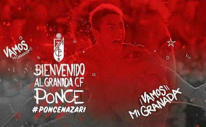 Ponce es anunciado como refuerzo oficial del Granada.