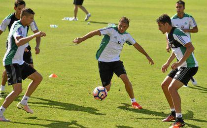 El portuense, en un entrenamiento.