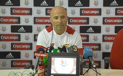 Jorge Sampaoli, en sala de prensa.