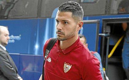 Vitolo, feliz tras renovar con el Sevilla.