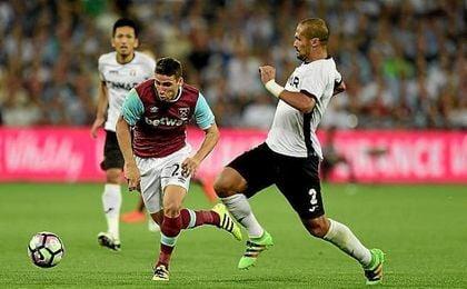 Calleri jugó su primer partido como titular con el West Ham.