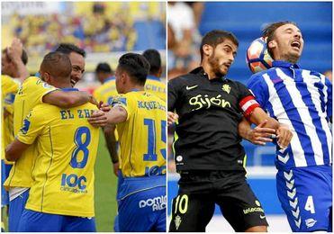Las Palmas golea al Granada y Alavés y Sporting empatan sin goles.