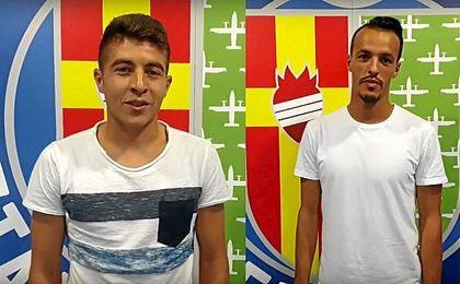 Francisco Portillo y Foued Kadir posan en la tarde de este mi�rcoles en las instalaciones getafenses.
