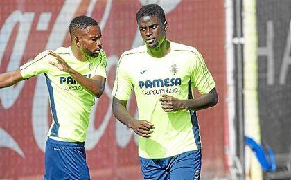 N´Diaye, en un entrenamiento con el Villarreal.