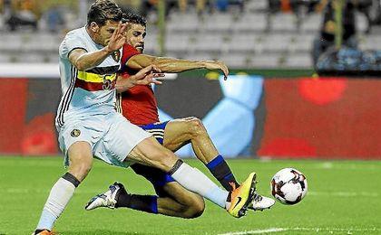 Diego Costa, en un lance del partido ante Bélgica.