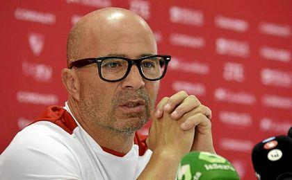 Jorge Sampaoli, t�cnico del Sevilla, en rueda de prensa.