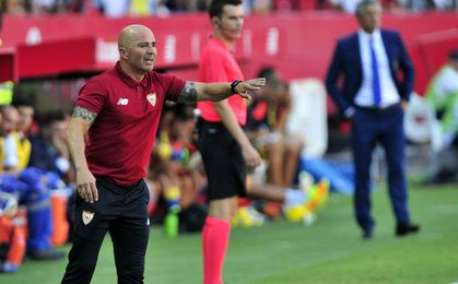 Jorge Sampaoli en el encuentro ante Las Palmas.