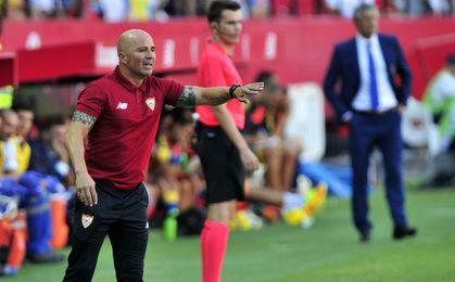 Jorge Sampaoli durante el encuentro frente a Las Palmas.