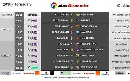 Horarios de la novena jornada de Liga.
