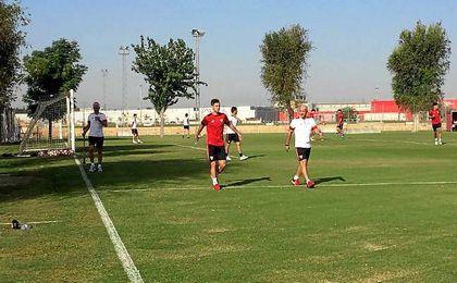 Vietto, junto a Desio, en la Ciudad Deportiva José Ramón Cisneros.
