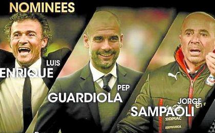 Jorge Sampaoli, como Luis Enrique o su admirado Guardiola, fue nominado a mejor entrenador de 2015.