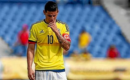 James Rodríguez, durante un partido con la selección de Colombia.
