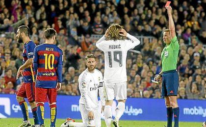 Ramos acabó expulsado en el último Clásico en el Camp Nou.