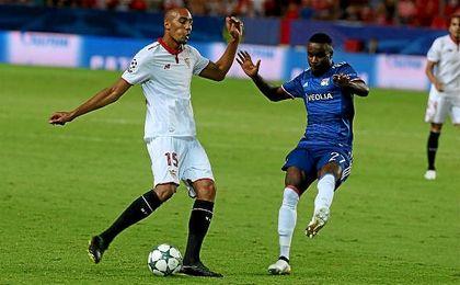 Steven N´Zonzi, durante el partido ante el Lyon.