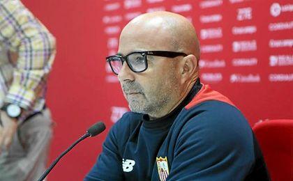 Jorge Sampaoli, durante la rueda de prensa de hoy.