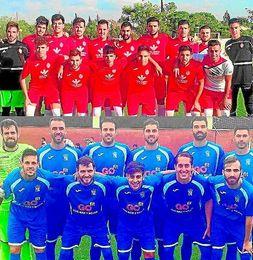 Los jugadores del Utrera y el Camas en el momento previo a un encuentro.