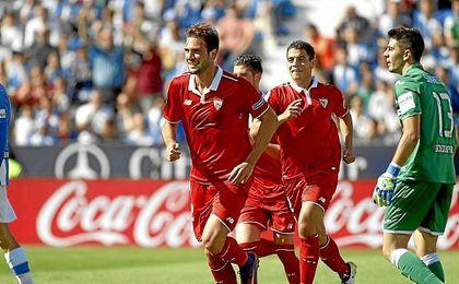 Franco Vázquez celebra su gol logrado en Butarque.