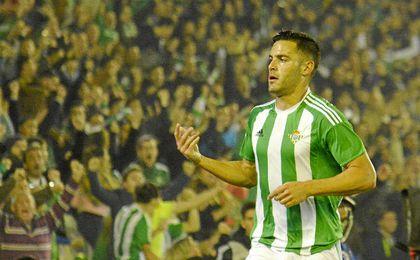 Bruno celebra el tanto que inauguró el marcador ante Las Palmas